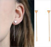 Nowy prosty punk trójkątne serce geometryczne metalowy łańcuch frędzle ear biżuteria spadek kolczyki w stylu vintage długołańcuchowe kolczyk hurtowych(China (Mainland))
