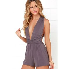 Any Way You Want Me Dusty Purple Romper ($48) ❤ liked on Polyvore featuring jumpsuits, rompers, purple, long halter top, strapless romper, halter-neck tops, long rompers and strapless rompers