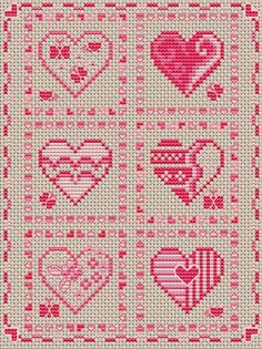 """hearts abound"" cross stitch pattern"