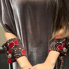 Fabric wrist cuffs. Velvet fabric wrist cuffs