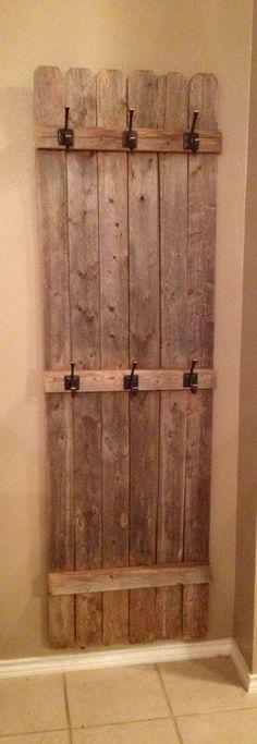 Old fence turned coat rack. VB