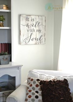"""""""It is well with my soul"""" Square Wood Sign {customizable}"""