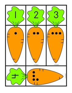Carrot Cards: matching sets and numbers, Lesson Plans - The Mailbox Preschool Centers, Preschool Learning Activities, Easter Activities, Preschool Activities, Math Pages, Kindergarten Math Worksheets, Learning Numbers, Math For Kids, Cards