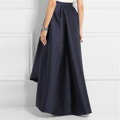 cc26e6966b Dark Navy Blue Long Asymmetrical Satin Skirt