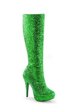 0256fb81e638c2 Buy Green Knee High Platform Heel Boots Glitter with cheap price and high  quality Boots stores