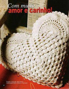 """"""" MOSSITA BELLA PATRONES Y GRÁFICOS CROCHET """": Cojín de corazón granny crochet"""