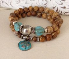 Jasper pair stretch bracelets // copper-patina cross charm // Thai copper sterling silver plated hardware on Etsy, $56.00