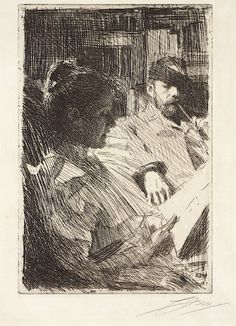 Anders Zorn : Reading (Mr. and Mrs. Charles Deering) at Davidson Galleries