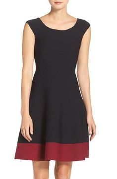 Eliza J Eliza J Colorblock Fit & Flare Sweater Dress (Regular & Petite) available at #Nordstrom