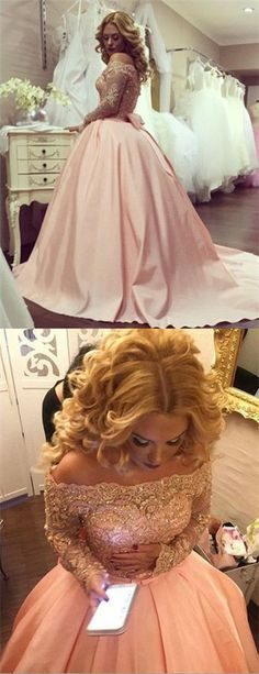Ball Gown Prom Dresses Scoop Long Sleeve Short Train Satin Sexy Prom
