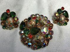 Vtg #Juliana D & E Easter Egg Stippled Cabochon Set Rhinestone Brooch Earrings