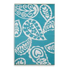 Fab Habitat Paisley Indoor/Outdoor Rug in River Blue with White - Bed Bath & Beyond