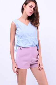 Buckled Waist Detailed Shorts (Pink) S$ 32.00