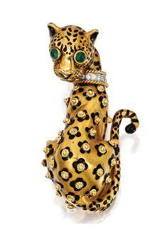 18 Karat Gold, Platinum, Diamond, Emerald and Enamel Leopard Brooch, David Webb