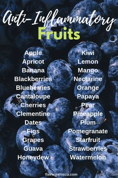On an anti-inflammatory diet? Here's a complete list of anti-inflammatory fruits… On an anti-inflammatory diet? Here's a complete list of anti-inflammatory fruits to choose from. Weight Loss Meals, Anti Inflammatory Foods List, Anti Inflammatory Smoothie, Autoimmune Diet, Ketogenic Diet, Candida Diet, Metabolic Diet, Food Lists, Health And Nutrition