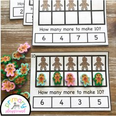 Gingerbread Ten Frame Task Cards Making Ten With  Gingerbread Friends Center #mathcenters #christmasmathcenters #tenframes #gingerbreadmath #kindergarten