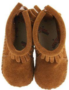 Minnetonka Kids - Suede Back Flap Bootie (Infant/Toddler) (Brown Suede) - Footwear on shopstyle.com