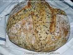 recette Pain cocotte sans pétrissage à la farine de seigle et aux graines de lin