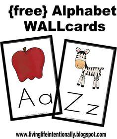 Printable Alphabet Wall Cards to help toddler, preschool, prek, and kindergarten age kids learn their ABCs. Preschool Literacy, Preschool Letters, Learning Letters, Alphabet Activities, Kindergarten Classroom, Preschool Ideas, Writing Letters, Montessori Elementary, Classroom Setup