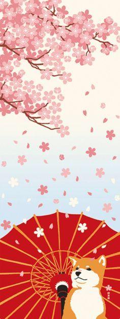 Japanese Tenugui Towel Cotton Fabric, Japanese Shiba Inu Dog, Cherry  Blossom, Puppy,