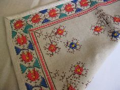 Tablecloth Bulgarian hand embroidery Table by IvanaSVintageGallery Bulgarian, Tablecloths, Cotton Thread, Table Runners, Panama, Hand Embroidery, Cross Stitch, Hands, Traditional