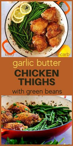 Easy to make and delicious keto and low carb chicken dinner. These chicken thighs and green beans are what you need to add to your keto and low carb meal plan. Low Carb Dinner Recipes, Lunch Recipes, Keto Recipes, Keto Dinner, Yummy Recipes, Keto Chicken Thighs, Low Carb Meal Plan, Healthy Chicken Recipes, Kitchen Recipes