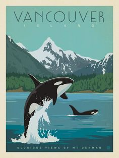 Anderson Design Group – World Travel – Canada: Vancouver Island Anderson Design Group – World Travel Foto Poster, Poster S, Vintage Travel Posters, Vintage Postcards, Vintage Advertising Posters, Posters Decor, Posters Canada, Voyage Canada, Plakat Design