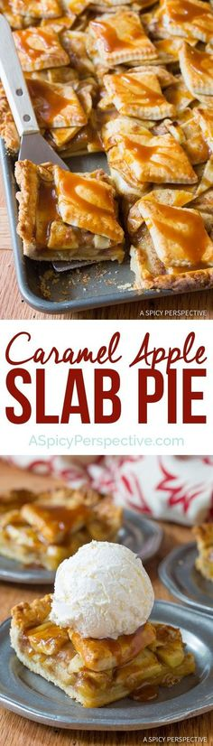 Rich crusty Caramel Apple Slab Pie - Easy to make, with a better crust-to-filling ratio! #aspicyperspective #foodblog #foodie #instayum #hungry #thekitchn #onmytable #dailyfoodfeed #foodlove #foodpic #instafood #foodstagram #tasty #caramelapplepie #caramelappleslabpie #pie #slabpie