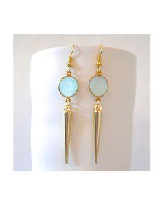 Aqua Chalcedony Spike Earrings. Love the color!