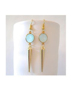 Aqua Chalcedony Spike Earrings. Love the color!