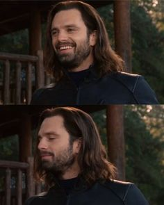 Soft Bucky hairbeard and the soft smile of sunshine? This picture is BLESS Sebastian Stan, Sonic Boom, Marvel Memes, Marvel Avengers, James Barnes, Bucky And Steve, Dc Movies, Films, Stucky