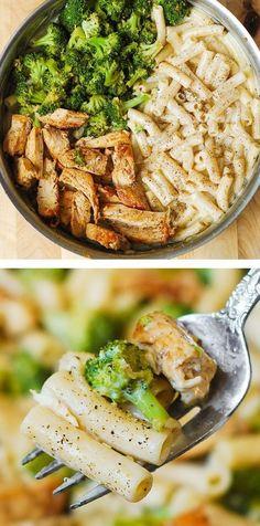Easy Chicken Dinner Recipes, Chicken Pasta Recipes, Easy Pasta Recipes, Healthy Dinner Recipes, Cooking Recipes, Tzatziki, Chicken Broccoli Alfredo Pasta, Pasta Alfredo, Quiche