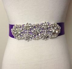 Crystal Sash-Purple Sash-Pearl Sash-Bride Sash-Applique Sash-Ribbon Belt-Wedding Dress Sash-Floral Crystal Pearl Applique Sash