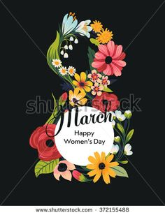 Beautiful 8 March concept background with text container and sample text featuring numeral symbol eight made of flowers, blossoms and leaves - stock vector