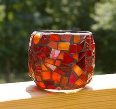 red and orange mosaic glass
