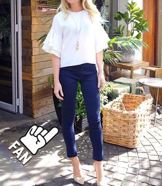 Blue pants with white off the shoulder shirt all now in stores at www.contemposhop.co.za