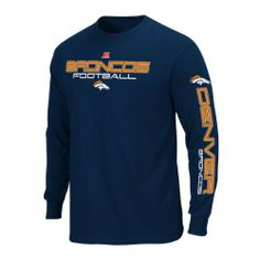 Denver Broncos Men's Long Sleeve T-Shirt - NFL Mens Primary Receiver III Tee Athletic Navy by Majestic. $22.99