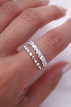 Dainty Stacking Wedding Bands by Brilliance in Diamonds wedding rings Charles & Colvard Moissanite engagement ring set rose gold diamond wedding ring bridal ring set Forever Classic Moissanite - Fine Jewelry Ideas Dream Engagement Rings, Engagement Wedding Ring Sets, Diamond Wedding Rings, Wedding Band Sets, Diamond Stacking Rings, Engagement Bands, Wedding Band With Diamonds, Wedding Band Rings, Black Wedding Bands