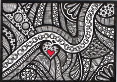 ACEO Black and White Zentangle Valentine drawing