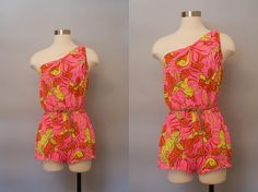 1970s Sirena Bathing Suit / Hot Pink Floral Print Swimsuit