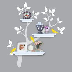 Tree Wall Decals - Tree Branch Decal with Birds for Shelving - Shelf Organizer - Baby Nursery Wall Decor. $54.00, via Etsy.