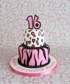 Cheetah Birthday Cakes, Sweet Sixteen Parties, 10th Birthday, Cheetah Print, Cake Ideas, Party Invitations, Cake Decorating, Desserts, Pink