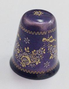 Plum Purple and Gold Enamel Floral Austrian Thimble
