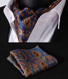 RF304B Blue Orange Paisley Silk Cravat Scarves Ascot Hanky Handkerchief Set…