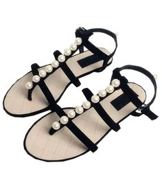 Black With Pearl Slingbacks Flat Sandals 28.33
