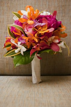 Tropical bridal bouquet, yellow, pinks, white, Island Fresh Photography