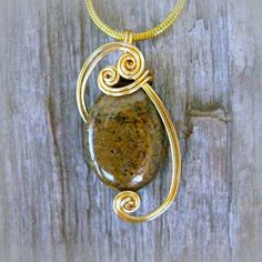 Bronzite Wire Wrapped Pendant Necklace in Gold by CareMoreCreations #Handmade #Jewelry