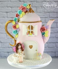 """cakedecoratingtopcakes:  """" Fairy Tea Party Teapot Cake by Caking It Up …See the cake: http://cakesdecor.com/cakes/201800-fairy-tea-party-teapot-cake  """""""