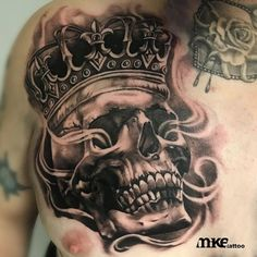 Mike is one of our resident black and grey realism artists, although very capable of other styles of tattooing. Skull Tattoo Design, Skull Tattoos, Body Tattoos, Sleeve Tattoos, Tattoo Designs, Chest Piece Tattoos, Chest Tattoo, Badass Tattoos, Tattoos For Guys