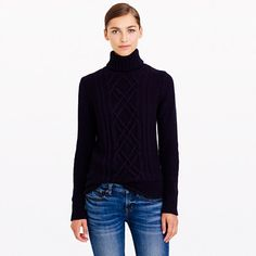 Our classic cable turtleneck is back just in time for the chillier months ahead (it's proof that turtlenecks <i>can </i>be sexy). <ul><li>Relaxed fit.</li><li>Hits at hip.</li><li>Wool/nylon/viscose in a 3-gauge knit.</li><li>Dry clean.</li><li>Import.</li></ul>